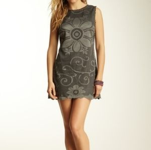 Free People black grey lace overlay dress